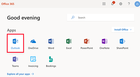 Using the Outlook app in Office 365