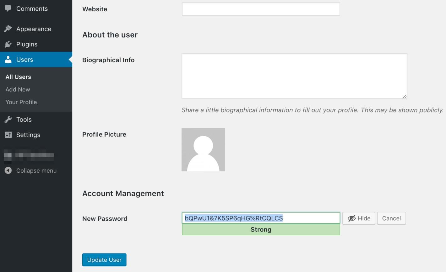 WordPress' password generator.