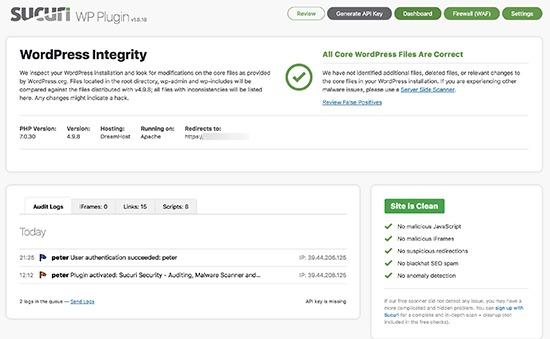 Sucuri free WordPress plugin dashboard