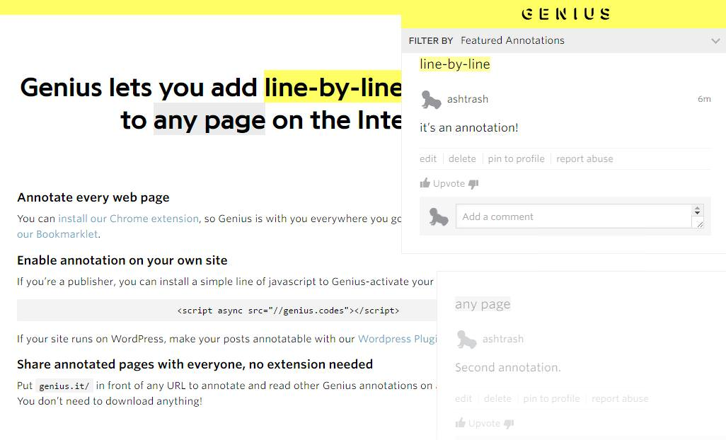 Genius Web Annotator