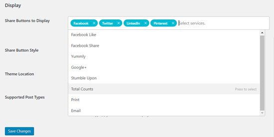 Add Total Counts button Shared Counts Plugin
