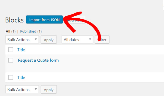Click Import from JSON in Gutenberg