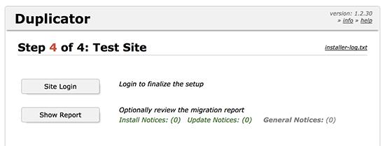 Duplicator website migration finished