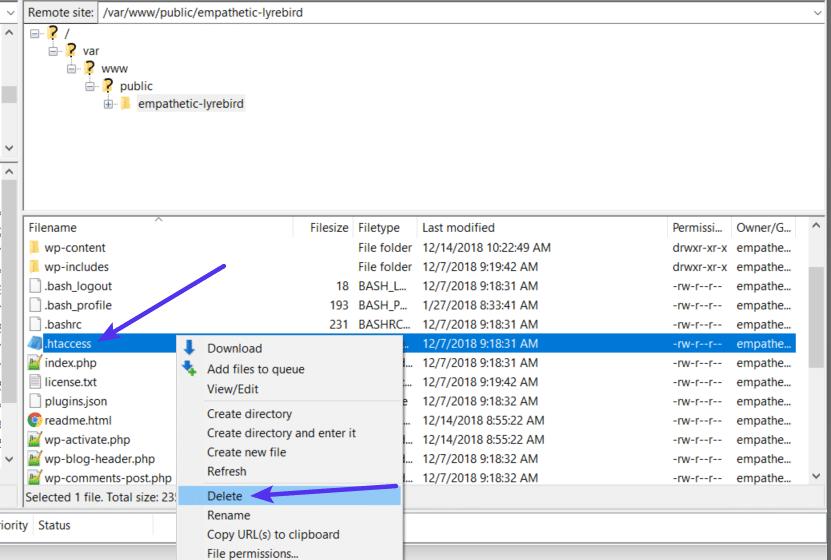 Delete the .htaccess file