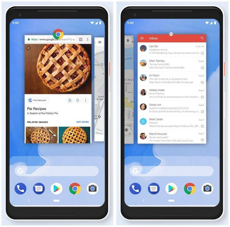 Gesture navigation in Google 9 Pie