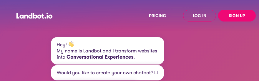 The Landbot.io conversational landing page.