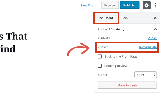 WordPress post scheduling option