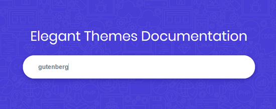 Search 'Gutenberg' keyword in theme site's documentation