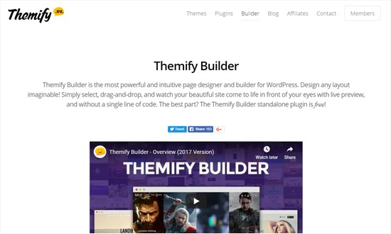 Themify Page Builder Plugin for WordPress