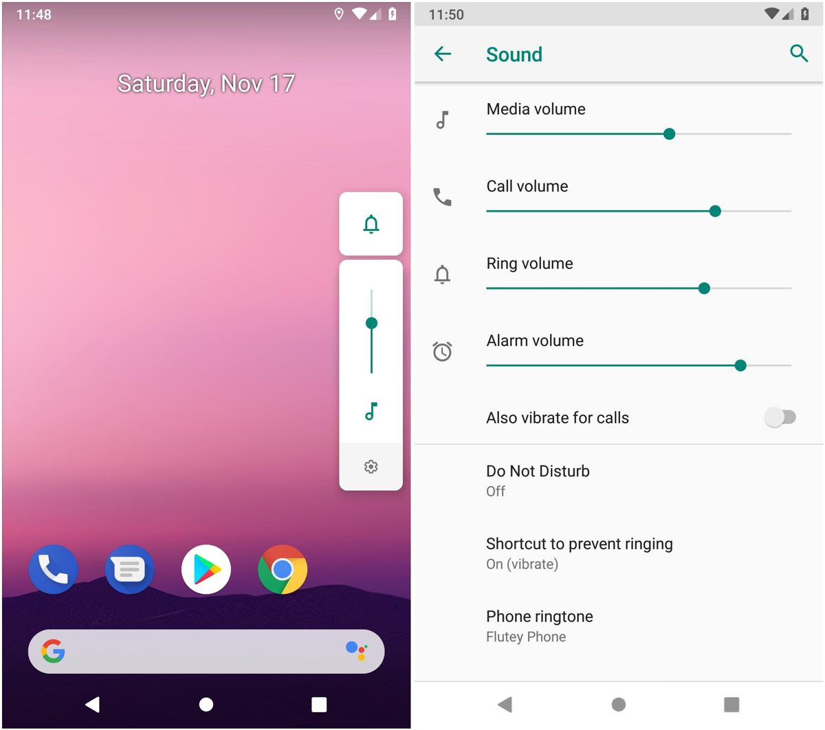 Volume bar improvement in Android 9