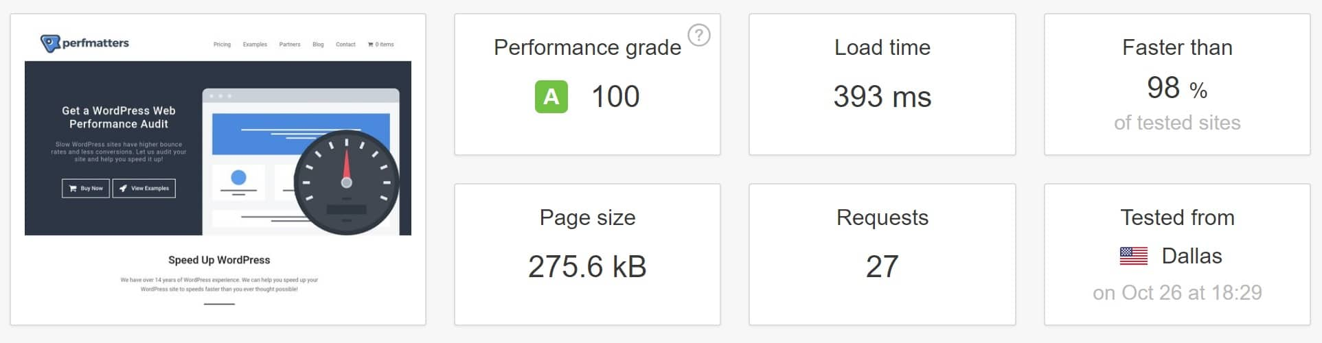 WordPress speed test at Kinsta