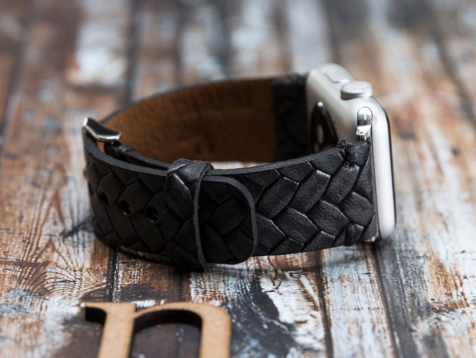 Dark lack leather band