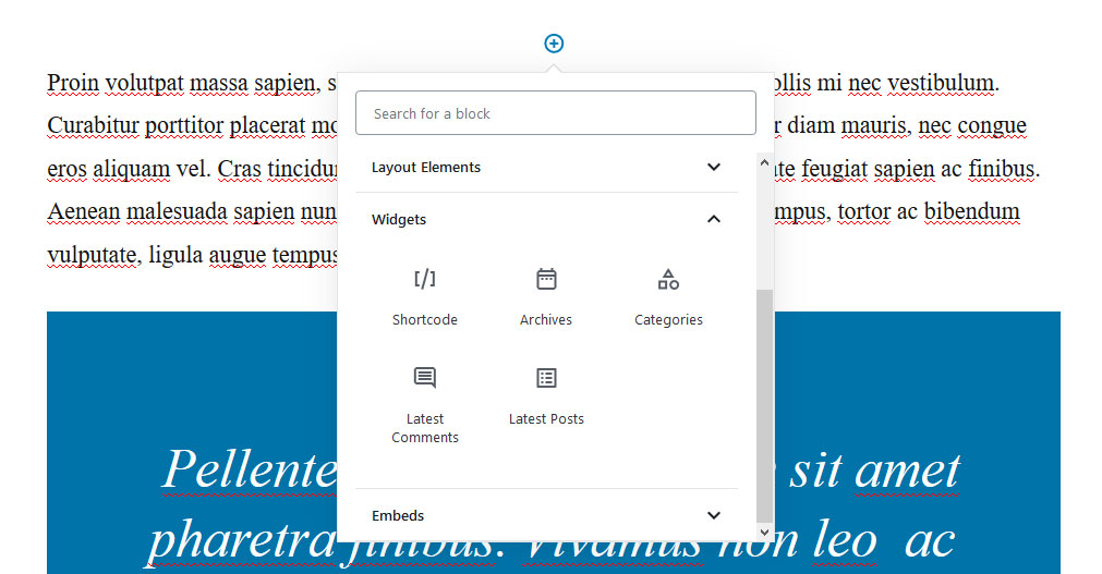 add widgets inside gutenberg posts and pages