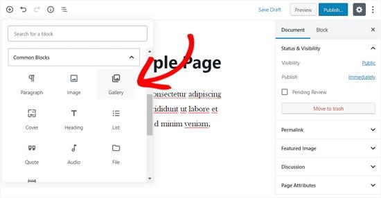 Add Gallery Block in WordPress