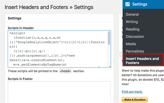 Adding Google Analytics tracking code using Insert Headers and Footers plugin