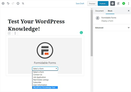Choose Your Quiz Form Widget in WordPress