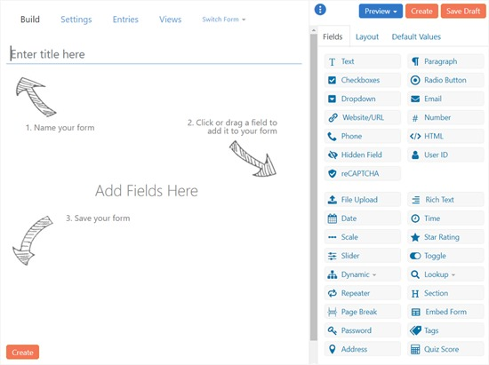 Formidable Forms Form Builder Interface
