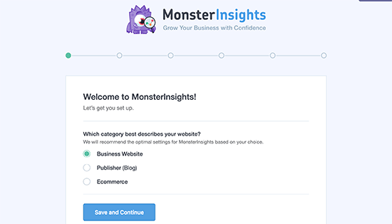 MonsterInsights setup wizard