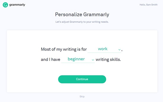 Personalize Grammarly