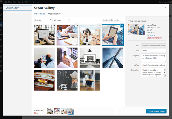 Select Images to Create Gallery in WordPress