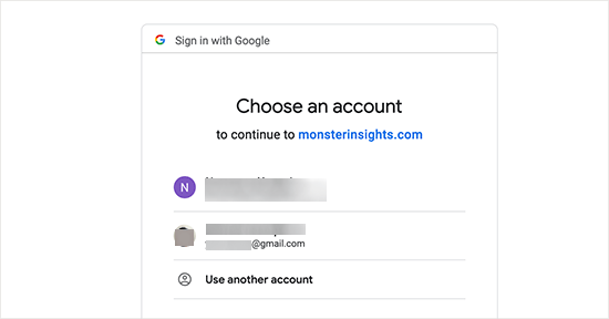 Sign in or select a Google account to continue