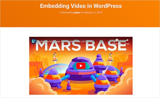 Video embedded in a WordPress blog post