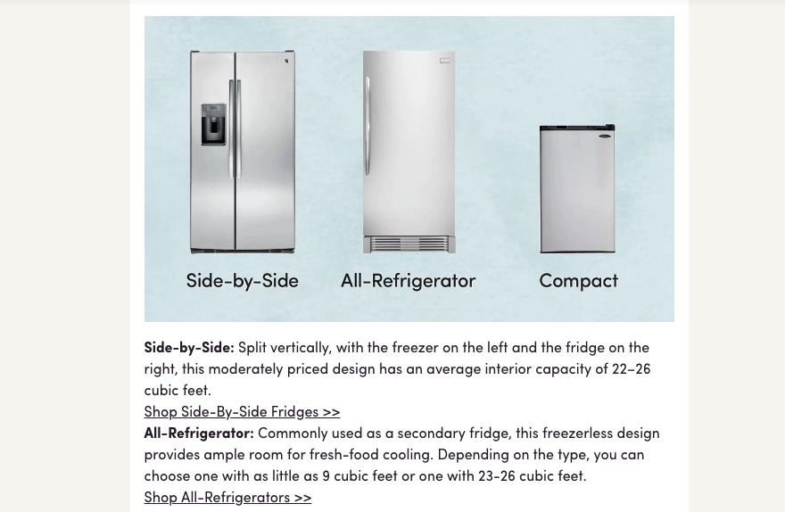 A refrigerator buying guide from Wayfair.