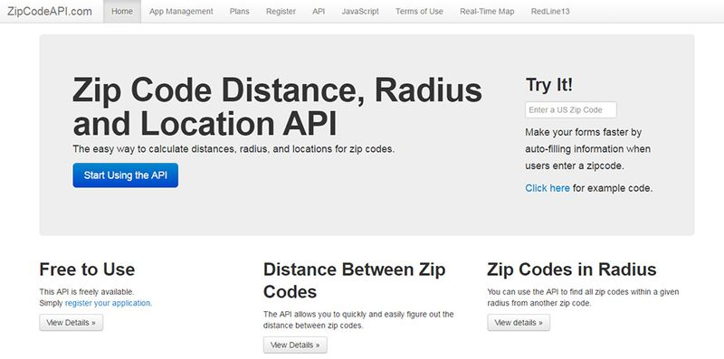 Free Zip Code & Radius API For Web Developers