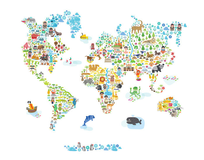 Fabric Wall Decal world map