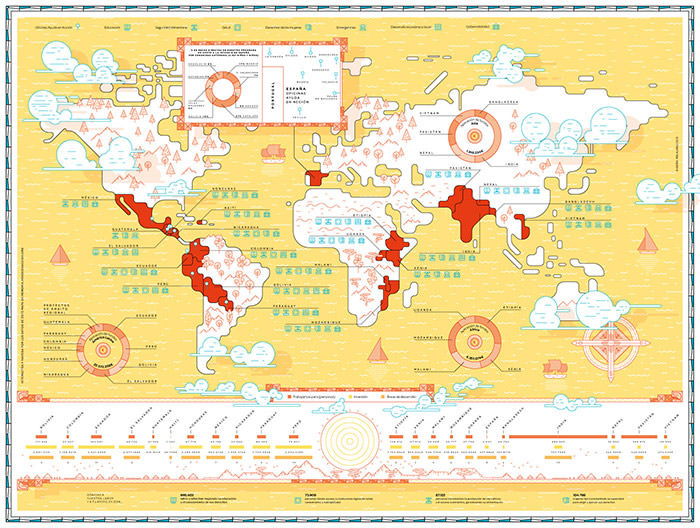 sun-themed annual report world map