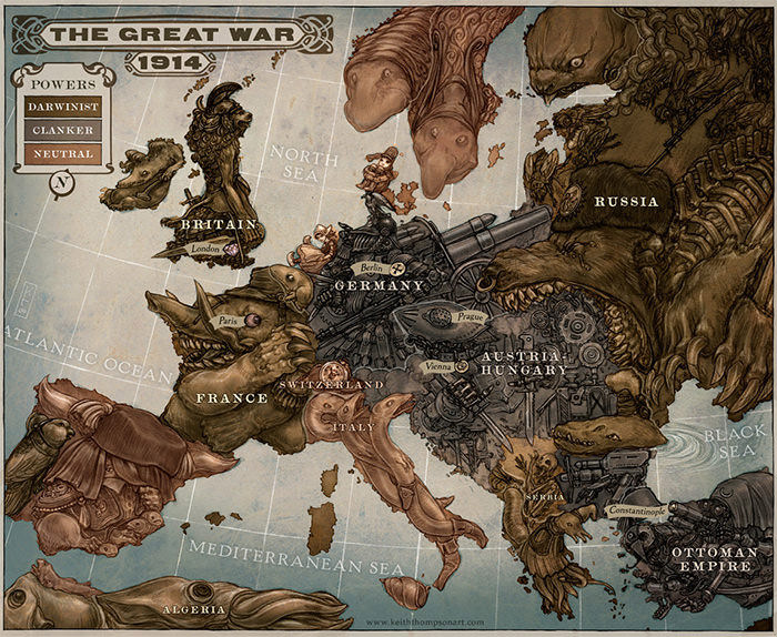 Caricature Map of Europe 1914 world map