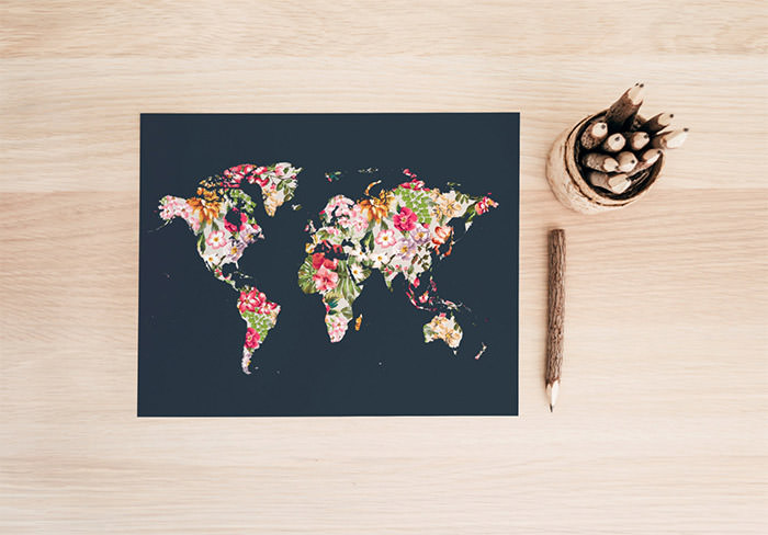 Floral world map