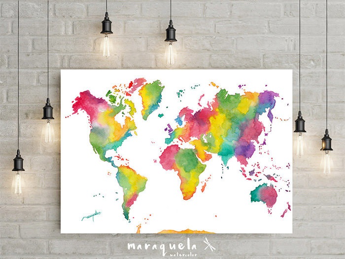 Rainbow Colors world map