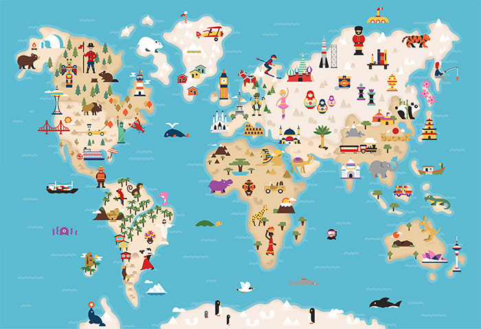 Kid's Playmat world map