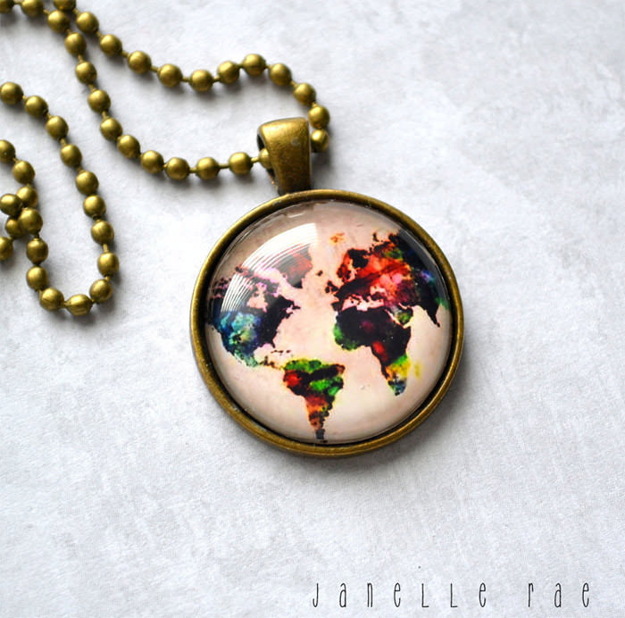 Globe Necklace Map world map