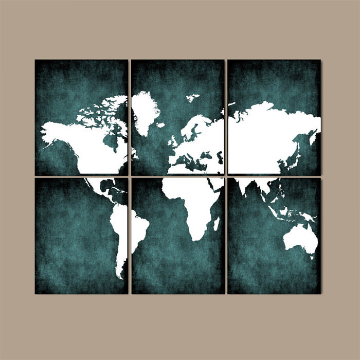Grunge Wall Art world map