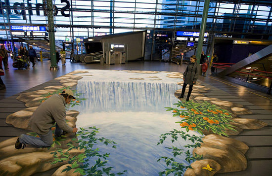 Waterfall in airport 3d art