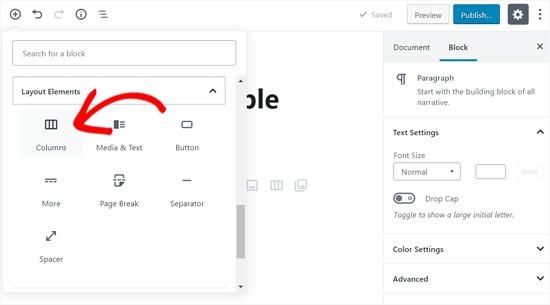 Add Columns Block in Your WordPress post