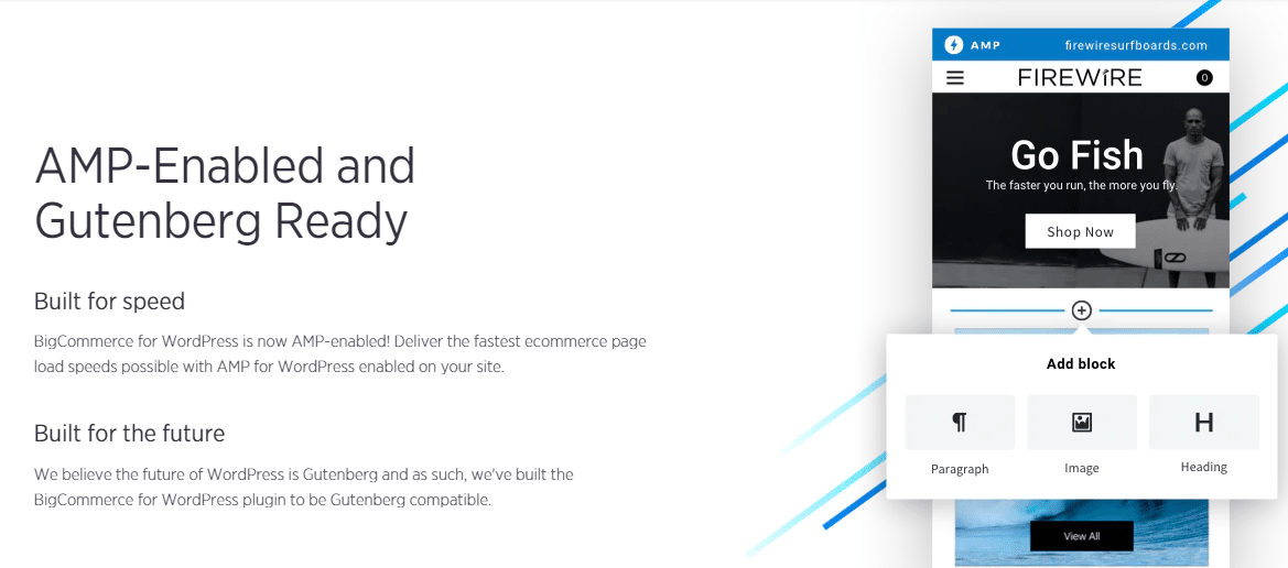 BigCommerce AMP and Gutenberg support