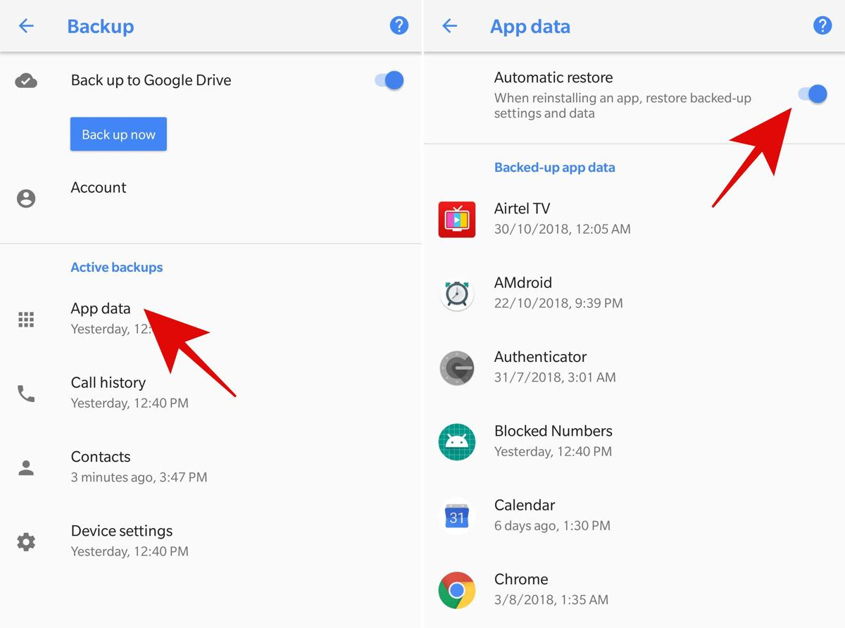 Auto-restore the app data in Android