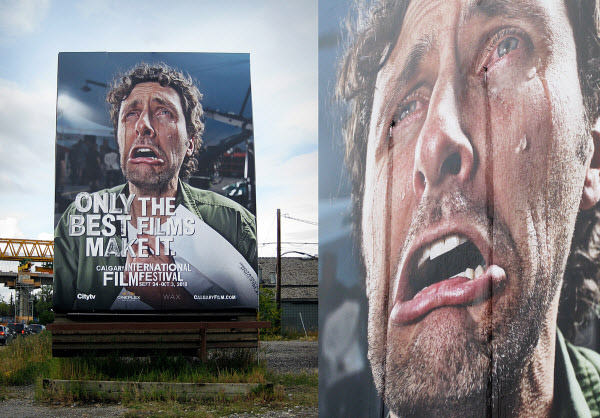 Calgary international film festival crying billboard