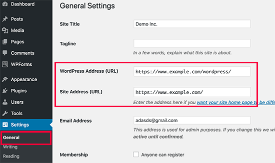 Change WordPress site address