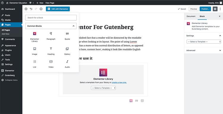 Elementor Blocks for Gutenberg
