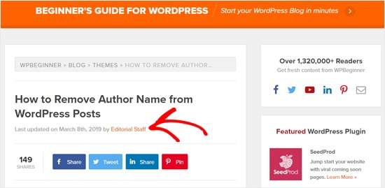 Generic Author Name on WPBeginner Article