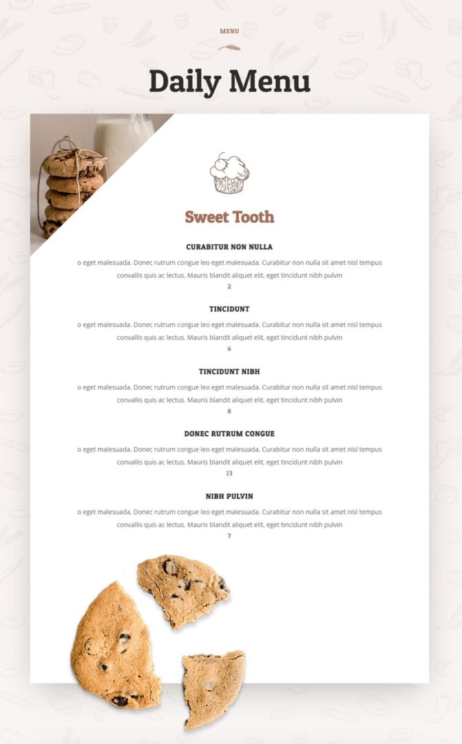 divi restaurant menu