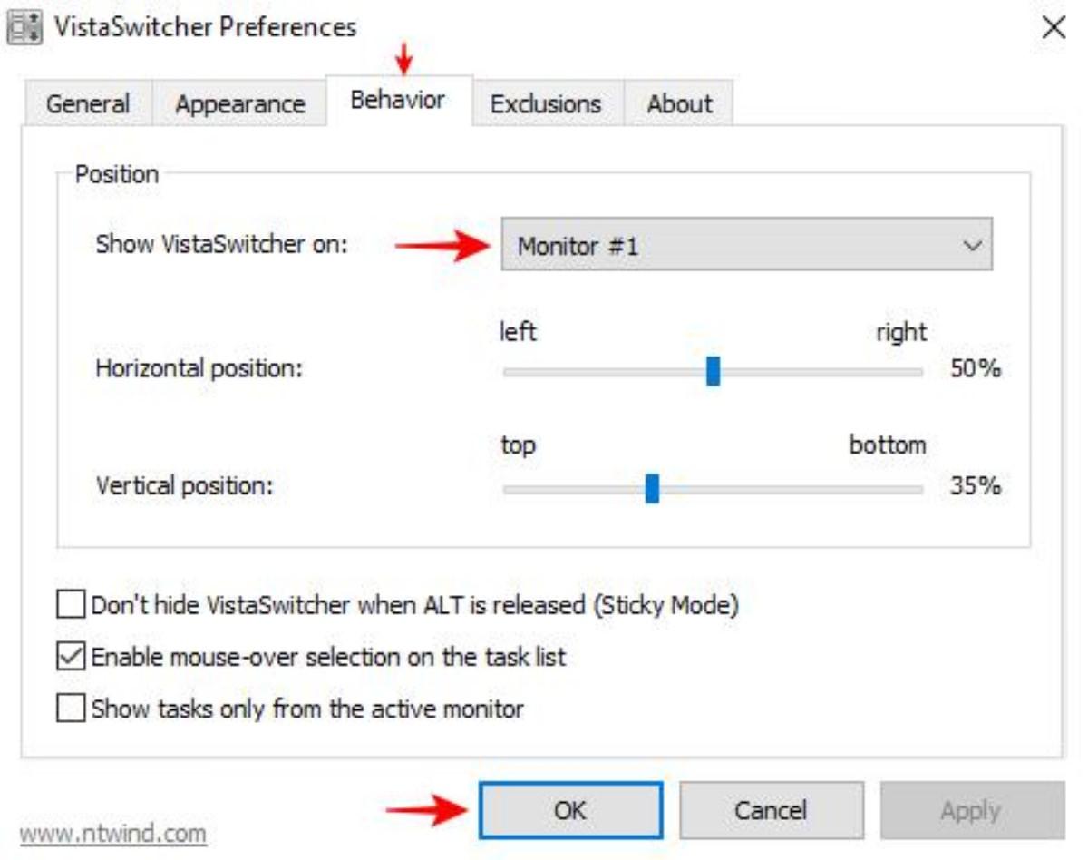 Preferences of VistaSwitcher