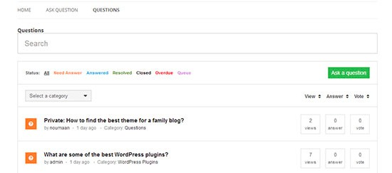 Question and answers website