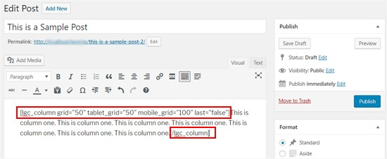 Shortcode and Content Added to WordPress Column