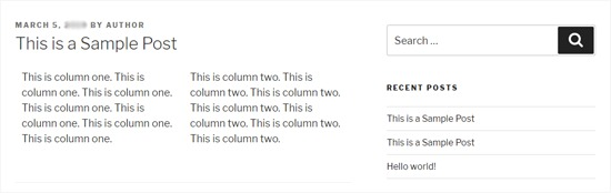 Two WordPresss Columns in Twenty Seventeen Theme