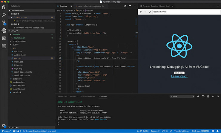 Visual Studio Code Browser Preview